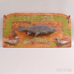 Carved and Painted Cape Cod Welcome Sign
