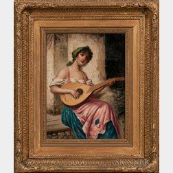 Continental School, 19th Century      Woman Playing a Mandolin