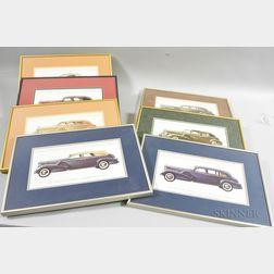 Seven Framed 1938 Cadillac Sixteen Prints
