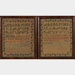 Two Needlework Samplers by Jerusha Woodward