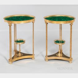 Pair of Neoclassical-style Gilt-metal and Malachite Two-tier Tables