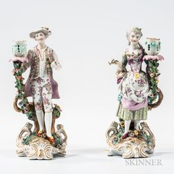 Pair of Meissen-style Porcelain Figural Candlesticks
