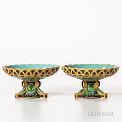 Pair of George Jones Majolica Footed Compotes