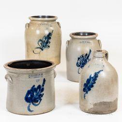 Four Cobalt-decorated Norton/Bennington Stoneware Items