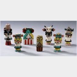 Seven Polychrome Carved Wood Kachinas