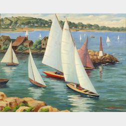 A.C. Hummel (American, 20th Century)      Sailboats Along the Coast/ Rockport, Massachusetts, with a Distant View of Pigeon Cove