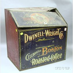 "Dwinell-Wright Co. ""Celebrated Boston Roasted Coffee"" Chromolithographed Tin   Retail Bin"