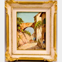 Italian School, 20th Century      Village Scene with Arch