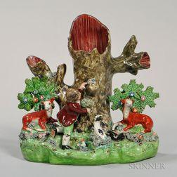 Pearl-glazed Earthenware Spill Vase Figural Group