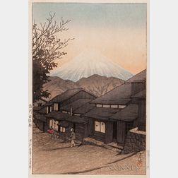 Kawase Hasui (1883-1957), Mt Fuji from Yuimachi at Suruga