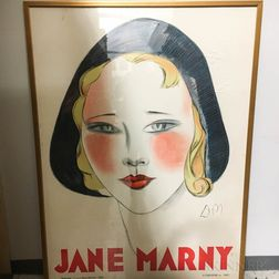 "Large Framed Jean Don ""Jane Marny"" Theatrical Poster"