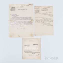 Washington, Booker T. (1856-1915) Three Signed Letters.