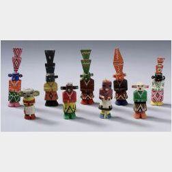 Nine Polychrome Carved Wood Kachinas