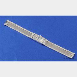 Art Deco Platinum and Diamond Wristwatch, Glycine