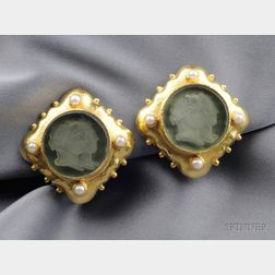 18kt Gold and Glass Intaglio Earclips, Elizabeth Locke