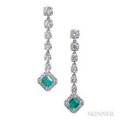 18kt White Gold, Emerald, and Diamond Earpendants