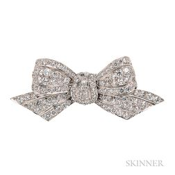 Platinum and Diamond Bow Brooch, Tiffany & Co.