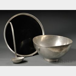 Porter Blanchard Pewter Footed Punch Bowl with Undertray and Ladle