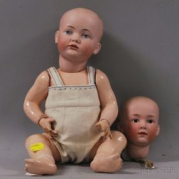 BSW Character Baby Doll and Heubach Bisque Head