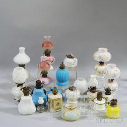 Group of Glass Victorian Kerosene Lamps