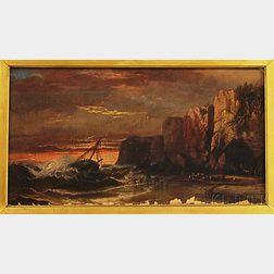 Harrison Bird Brown (American, 1831-1915)      Shipwreck off the Coast of Maine