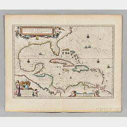 Caribbean Islands, Central America, Florida, Gulf Coast. Willem Janszoon Blaeu (1571-1638) Insulae Americanae in Oceano Septentrionali