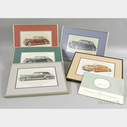 Five Framed 1941 Packard Automobile Prints and a Catalog
