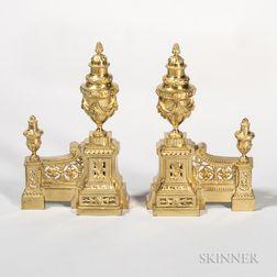Brass Urn-top Andirons
