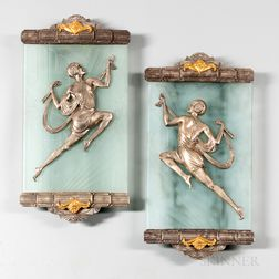Pair of Art Deco-style Dore Bronze Wall Sconces