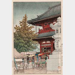 Kawase Hasui (1883-1957), Morning Rain at Asakusa