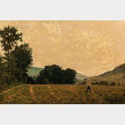 Louis Michel Eilshemius (American, 1864-1941)      Landscape with Farmer