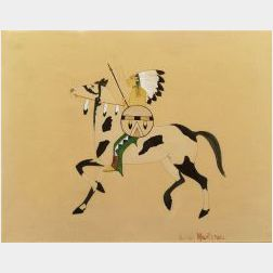 Julian Martinez (San Ildefonso, 1897-1943)  Watercolor on Tan Paper depicting a Warrior on Horseback