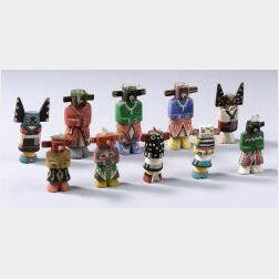 Ten Polychrome Carved Wood Kachinas