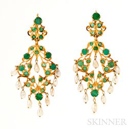 Gold, Emerald, and Pearl Earpendants