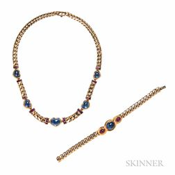 18kt Gold, Sapphire, and Ruby Necklace, Bulgari