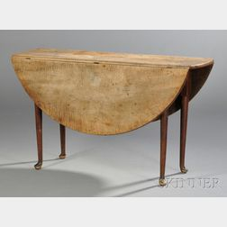 Queen Anne Tiger Maple Red-stained Dining Table