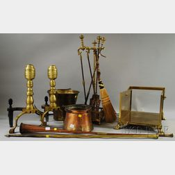 Group of Brass and Metal Fireplace and Hearth Equipment and Tools