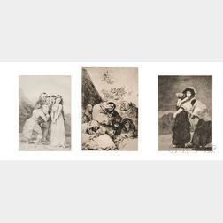 Francisco José de Goya y Lucientes (Spanish, 1746-1828)      Three Plates   from LOS CAPRICHOS