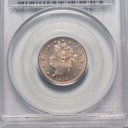 1908 Five Cent Liberty Head Nickel, PCGS PR65 CAC.