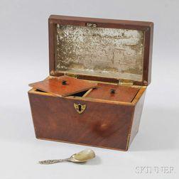 Georgian Inlaid Mahogany Casket-form Tea Caddy