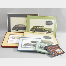 Six Framed 1938 Buick Prints and a Catalog