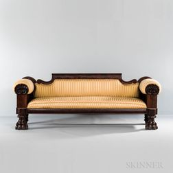 Upholstered Carved Mahogany and Mahogany Veneer Sofa