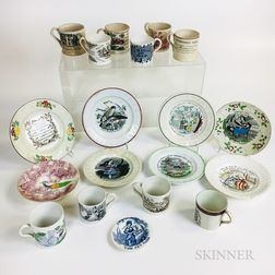 Nineteen Mostly Transfer-decorated Ceramic Child's Items