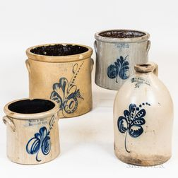 Three Norton/Worcester Cobalt-decorated Stoneware Crocks and a Jug