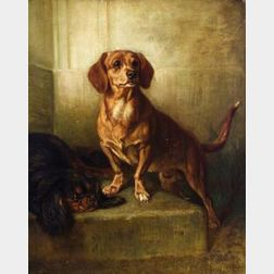 Benno Adam (German, 1812-1892)  Best Friends/A Portrait of a Dachshund and a King Charles Spaniel