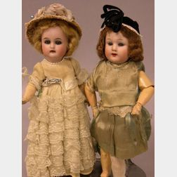Two Small German Bisque Socket Head Dolls
