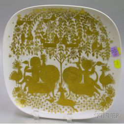 Rosenthal/Bjorn Wiinblad Gilt Porcelain Footed Tray, and Four Collector's Plates