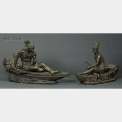 Duchoiselle (French, 19th Century)      Lot of Two Sculptures: Indian Maiden in a Canoe