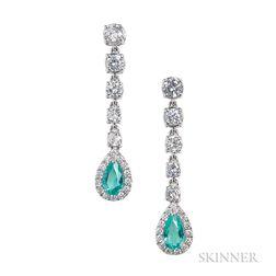 18kt White Gold, Diamond, and Emerald Earpendants