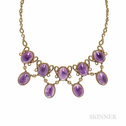 Antique 18kt Gold, Amethyst, and Diamond Necklace